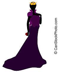reina, silueta, mal, ilustración
