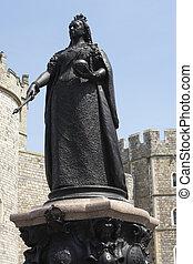 reina victoria, exterior, estatua, castillo, windsor