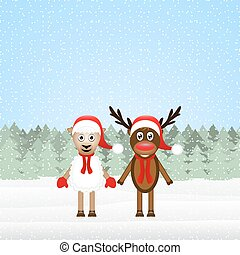 Reindeer and Christmas lamb in the woods