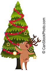 Reindeer and christmas tree on white background