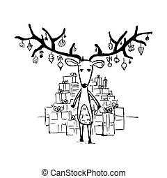 Reindeer and gifts. Vector illustration isolated on white
