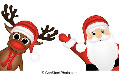 Reindeer and Santa Claus on the side of a white background
