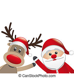 reindeer and santa claus wave white background