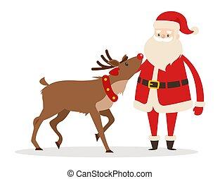 Reindeer and Santa Strokings his Pet Head Isolated