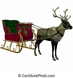 Reindeer and Sleigh - 3D Render