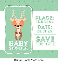 reindeer animal baby shower card icon