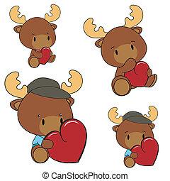 reindeer baby cartoon heart set