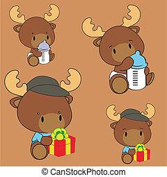reindeer baby cartoon set