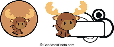 reindeer baby copysapce cartoon