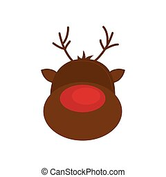 Reindeer Cartoon Merry Christmas Icon Vector Graphic