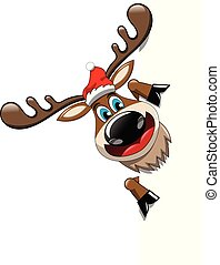 Reindeer cartoon presenting blank white billboard isolated