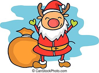 Reindeer child in Christmas red hat