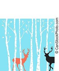 Reindeer Christmas card, vector - Reindeer with birch tree ...