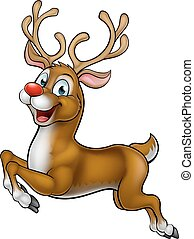 Reindeer Christmas Cartoon Character - A happy cute cartoon...