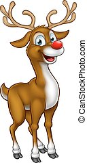 Reindeer Christmas Cartoon Character - A cartoon Christmas...