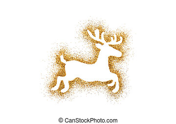 Reindeer Christmas decoration on golden glitter isolated on white background