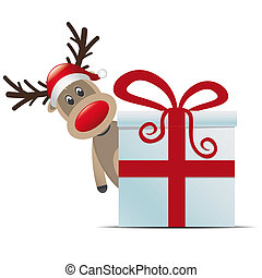 reindeer christmas gift box with red ribbon