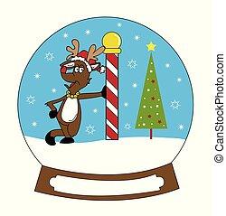 Reindeer Christmas Snowglobe