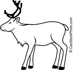 Reindeer. Contour drawing