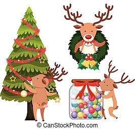 Reindeer decorating christmas tree