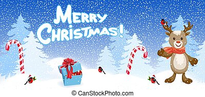 "Reindeer deer with bird bullfinch in Santa hat on background of Christmas snowfall in forest, two striped candy and inscription ""Merry Christmas"". New Year and Christmas vector illustration."