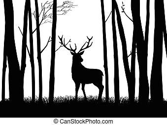 Reindeer - Silhouette of a reindeer in the woods