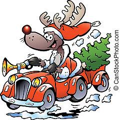 Reindeer Driving Car