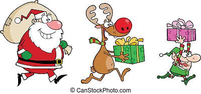 Reindeer, Elf And Santa Claus