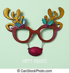 reindeer eyeglasses and text happy holidays