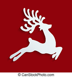 reindeer fly red background