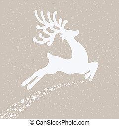 reindeer fly winter background