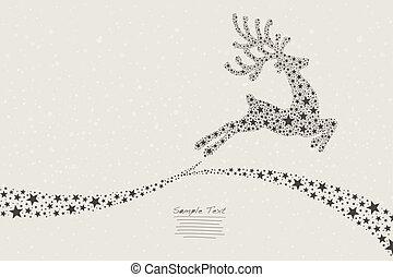 reindeer flying stars