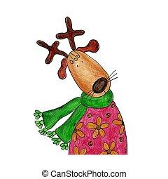 Reindeer - Handmade illustration