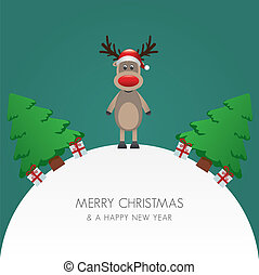 reindeer hat christmas tree and gift