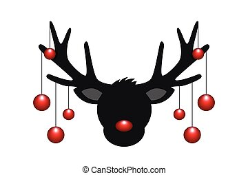 reindeer head silhouette with red christmas decoration