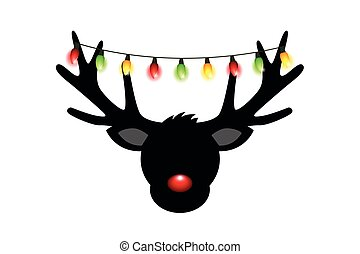 reindeer head silhouette with red nose and christmas lights deco