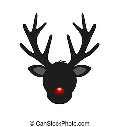 reindeer head silhouette with red nose for christmas