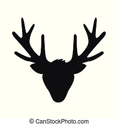 reindeer head with big antlers silhouette isolated on white background