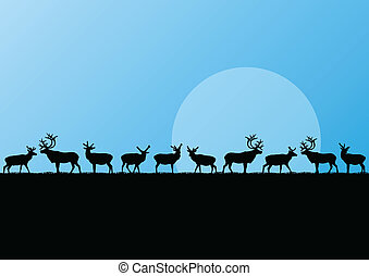 Reindeer herd in cold northern landscape illustration ...