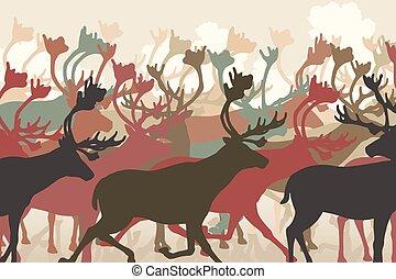 Reindeer herd - EPS8 editable vector illustration of a...