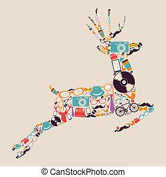 reindeer., hipsters, retro, icônes