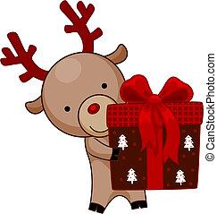 Reindeer holding Christmas Gift