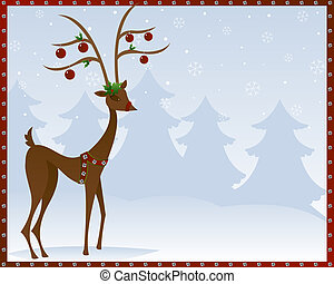 Reindeer in Bells - Stylized reindeer adorned in silver...