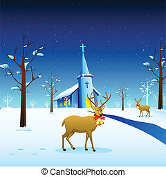 Reindeer in Christmas Night