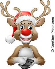 Reindeer in Christmas Santa Hat Cartoon