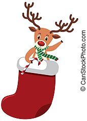 Reindeer in christmas sock on white background