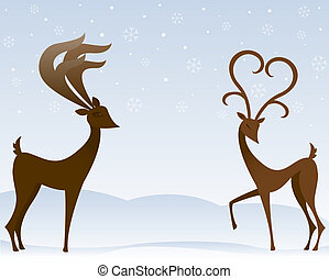 Reindeer In Love - Two stylized reindeer flirt in the snow -...