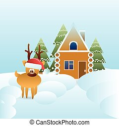 Reindeer In Santa Hat Near Gingerbread House Covered With Snow Winter Holidays Concept
