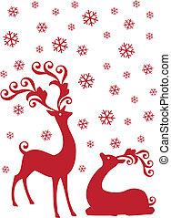 reindeer in snowfall, vector - red reindeer with snowflakes,...