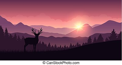 reindeer in the mountains with forest landscape